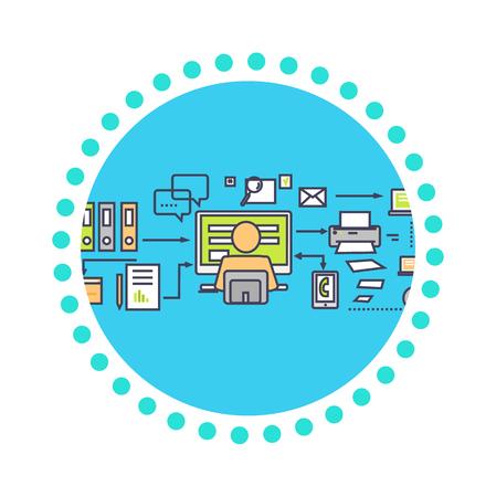 eficiencia: Icono diseño plano el concepto de plazo. Gestion de tiempo, el plan y la cuenta atrás, la organización botón, el progreso y la eficiencia, la puntualidad y la ilustración proceso