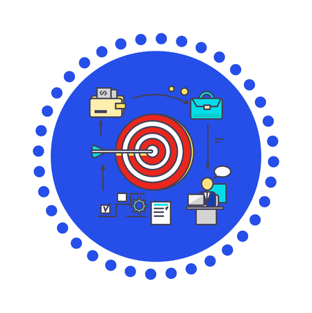 goal achievement: Icon flat style design goal setting. Business strategy, target and management, idea and plan, solution and achievement, objective and motivation, growth ambition illustration