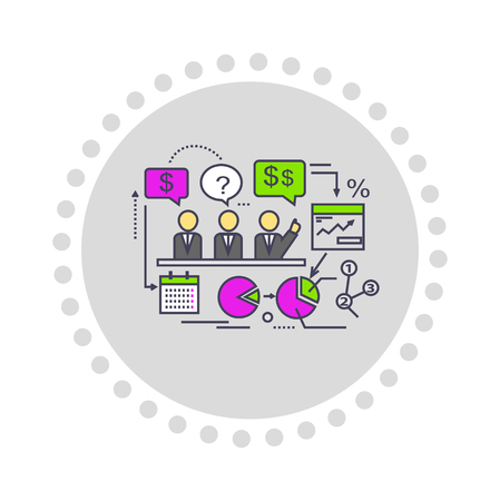 optimize: Icon flat style design performance analysis. Business marketing, graph and diagram, data information, statistic and improvement, growth and trend, index presentation illustration Illustration