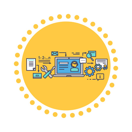 contact center: Icon flat style design online consultation. Business service consultant, network web internet, support and technology, communication contact, call center, helpline illustration