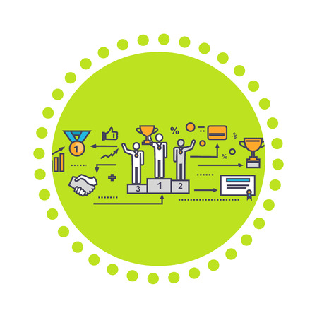 company job: Icon flat style design successful team. Success people and businessman, corporate teamwork, partner person, finance support, together job, company financial, business achievement illustration Illustration