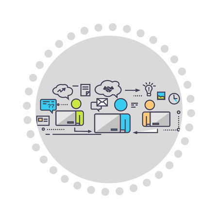 corporate team: Icon flat style design working group. Business work, people team, teamwork office, communication corporate, manager and meeting, company and worker, community partnership illustration