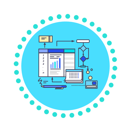 pdca: Icon flat style design working process. Business pdca, development and organization, management project, strategy and document, planning progress, workflow illustration Illustration