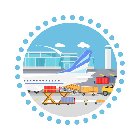 freighter: Loading freight containers in a cargo plane. Transportation and delivery, logistic shipping, service industry, load airplane, airport terminal, import express and distribution freighter. Round concept Illustration