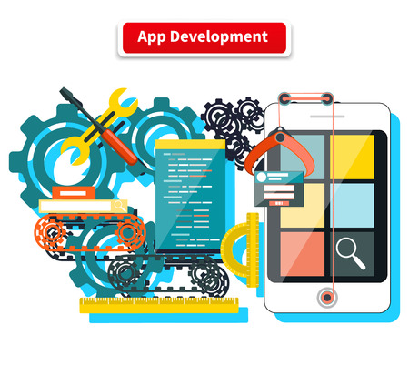 Concept for app development with smartphone, tools, programing code on white background. Apps, development, mobile apps, software development, mobile app development, app design Illustration