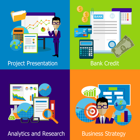 research icon: Concept of business strategy analytics and research. Bank credit, presentation project, management marketing, development and success, planning and analysis illustration Illustration