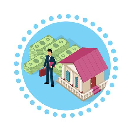 exchange profit: Isometric icon businessman bank cash. Money and currency business finance, exchange and earnings, banknote paying, deposit and economy capital and profit, commerce financial bank, bank building, money Illustration