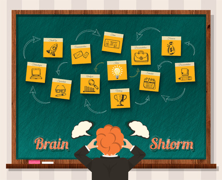 Brain storm. Man and blackboard. Idea business, businessman think, success and solution, head storming, mind and inspiration, start-up. Brainstorm, brainstorming idea, thinking, innovation brain power Ilustracja