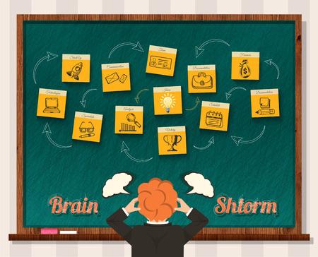 pensando: Idea genial. El hombre y la pizarra. Idea de negocio, hombre de negocios pensar, el �xito y la soluci�n, asalto cabeza, la mente y la inspiraci�n, la puesta en marcha. Lluvia de ideas, la idea de intercambio de ideas, el pensamiento, el poder del cerebro innovaci�n