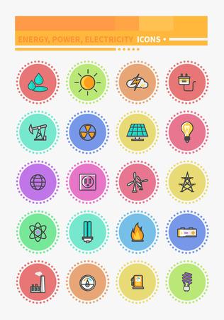 eficiencia energetica: Las l�neas finas iconos de energ�a y de recursos conjunto de iconos de energ�a y producci�n de energ�a, la industria el�ctrica, las fuentes de energ�a naturales. Energ�a, eficiencia energ�tica, ahorrar dinero, el ahorro de energ�a, la energ�a verde, el ahorro