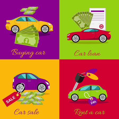 pay money: Concept of buying selling rental car. Buy transport, auto rent, sale and loan, automobile and vehicle, purchase and deal, credit and pay, offer and money illustration
