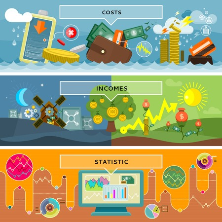 fondos negocios: Finanzas costes estadísticos e ingresos. El dinero y los negocios, la ganancia y la inversión, el crecimiento efectivo, moneda bancaria, pagar y el mercado, el informe de auditoría, contabilidad y crédito ilustración Vectores