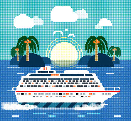 halftone pattern: Cruise ship near island. Water tourism. Icons of traveling, planning a summer vacation, tourism and journey objects. Halftone pattern, dots, halftone background, halftone dots, grunge, grunge halftone