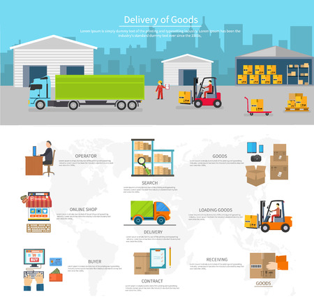 vehicle graphics: Delivery of goods logistics and transportation. Buyer and contract, loading and search, operator shop on-line, logistic and transportation, warehouse service illustration