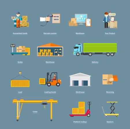 vehicle: Set of icons transport logistics concept. Warehouse and production, stackers and trolley, scanner barcode, guaranteed and loading, crane and logistic illustration