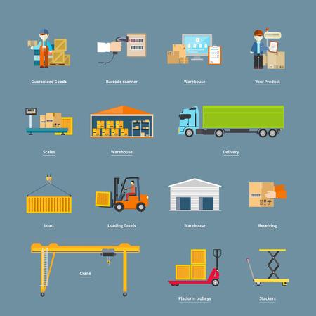 transport: Zestaw koncepcji logistyki transportu ikony. Magazynowo-produkcyjny, układarki i wózek, skaner kodów kreskowych, gwarantowane i załadunek, dźwig i ilustracji logistyczne Ilustracja