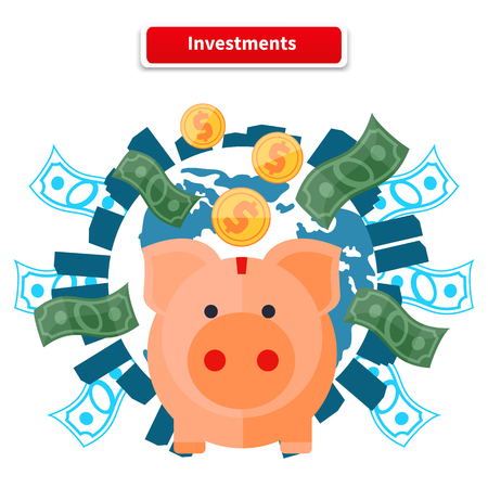 investment ideas: Investment concept capitalization, money savings. Piggy bank, coin planet. Investment concept, finance, money, investor stock market, savings, business, bank. Pig of earth with buildings and money Illustration