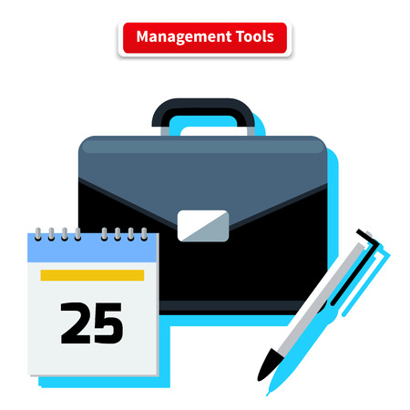 small tools: Management tools concept. Icons for business concept. Tools, interier, business online, documents in flat design. Tools, management, business tools, tool box, small business, management icon