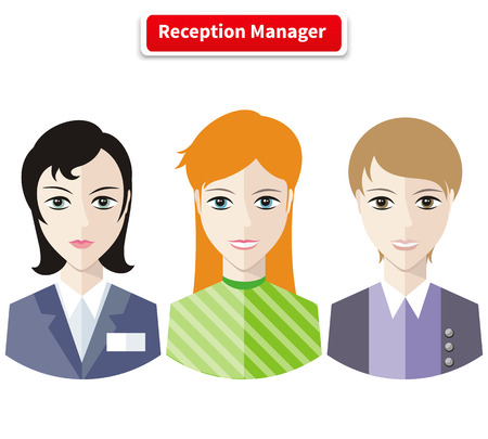 lassie: Reception manager. Personal assistant concept set with time management and secretary work flat icons illustration. Reception desk, receptionist, office reception, hotel reception, wedding reception Illustration