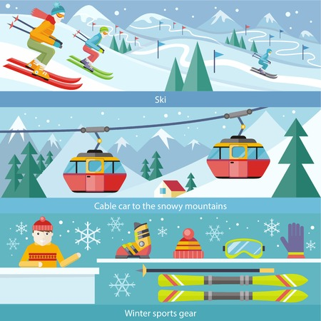 and in winter: Concept skiing winter sport flat style. Cable car, gear snow, hobby and boot, season sporting, shoes and leasure, downhill and skier, speed extreme, activity and landscape illustration