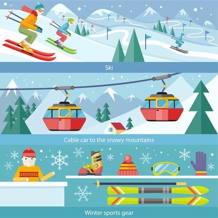 deporte: Concepto de deportes de invierno esquí estilo plano. Teleférico, nieve engranaje, hobby y arranque, temporada deportiva, zapatos y ocio, cuesta abajo y esquiador, velocidad extrema, la actividad y la ilustración del paisaje