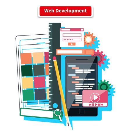 concepteur web: Webdesign development interface elements creative process tools. Web design, development, web designer, web, website, web development icons isolated on white background