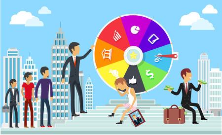Rueda de la fortuna concepto de negocio. El juego de éxito, ganar juego, lotería premio mayor, el logro y la motivación, el fracaso y el desafío, triunfo éxito, ilustración ambición finanzas Ilustración de vector