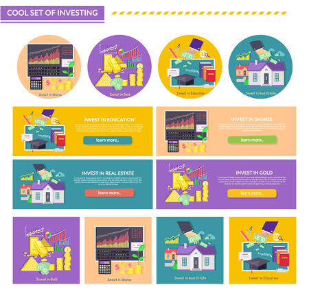 gold house: Set of concept investment gold education property shares. Real estate, finance and bills, investing house, growth fund and profit, cash money, financial saving illustration
