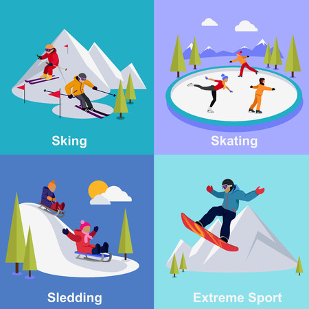 ski: Active winter vacation extreme sports. Sledding and sking, skating and mountain, snow and recreation, travel outdoor, cold and holiday, snowboarder athlete illustration