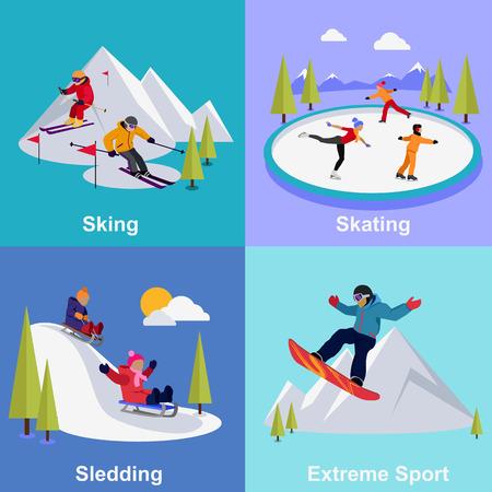 frio: Deportes extremos activas vacaciones de invierno. Trineo y esquiar, patinar y montaña, nieve y recreación, viajan al aire libre, frío y fiesta, ilustración snowboarder atleta