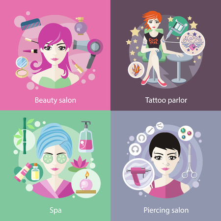 Set of salons, beauty tattoo, piercing. Spa and parlor, face care, girl fashion, hair and cosmetic, woman haircut, elegant hairstyle, elegance visage, banner cosmetology illustration