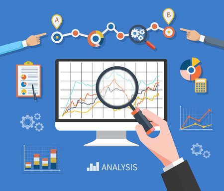 focus on: Banner with focused magnifying glass on gear and multicolored pie chart with name Data analysis on blue background. Hand holding a magnifying glass at the monitor with the schedule graph
