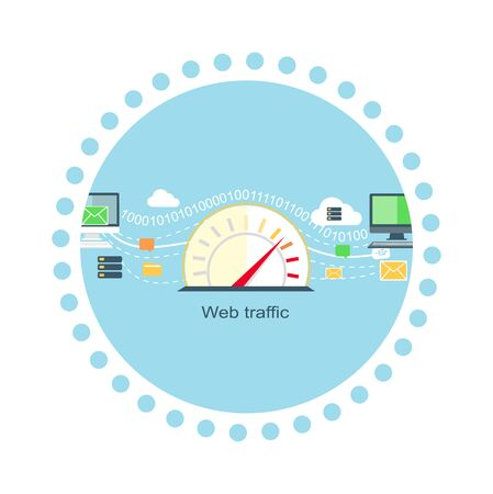 internet traffic: Web traffic internet icon flat isolated. Service feedback, network speed, computer optimization, communication and connection, data process, stream server illustration
