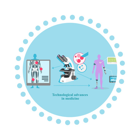 equipment experiment: Technological advance in medicine icon flat . Research science, medical equipment, biotechnology and laboratory, analysis data and experiment, healthcare illustration Illustration