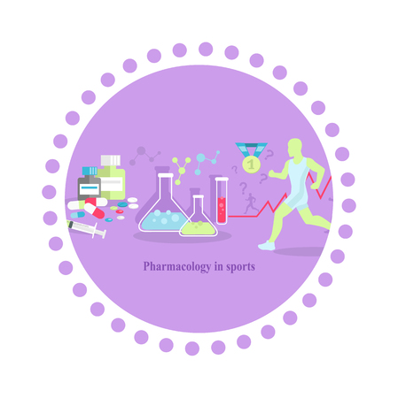 multivitamin: Pharmacology in sport icon flat isolated. Medical supplement,  medicine tablet vitamin, health food capsule, amino acid, healthcare pharmacy, training and injection illustration