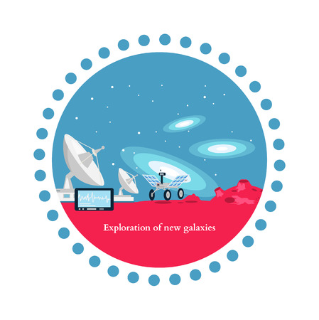 aerospace: Exploration new galaxies icon flat isolated. Astronomy and universe, cosmos horizon, mission and aerospace industry, future  technology innovation illustration