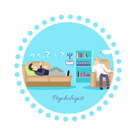 psychologist: Psychologist concept icon flat isolated. Mental psychology problem, health and psychiatrist, human mind, medical stress, people, issue talking, depression and therapy illustration