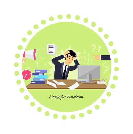 busy person: Stressful condition icon flat isolated. Stress health person, disorder and problem, businessman depression, mental attack psychological, busy and chaos illustration