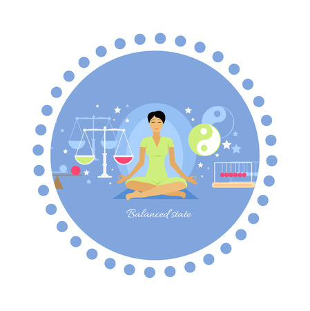 equanimity: Balanced state woman icon flat isolated.  Person meditation yoga, healthcare and mood, expression feeling mental, pose relax, thinking and harmony, lifestyle emotion illustration