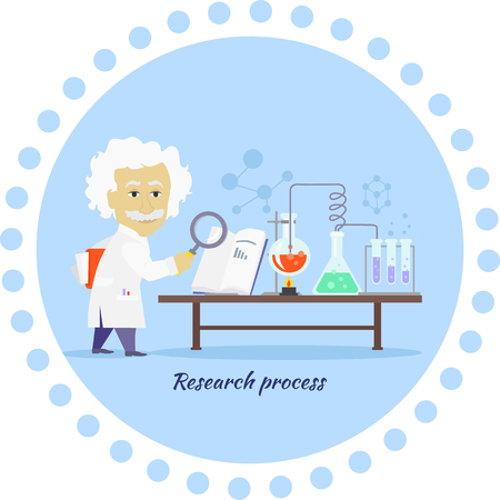 develop: Research process icon flat isolated. Discovery and reaction, chemistry science, processing development, search data and innovation, organization develop, magnifier and invention illustration