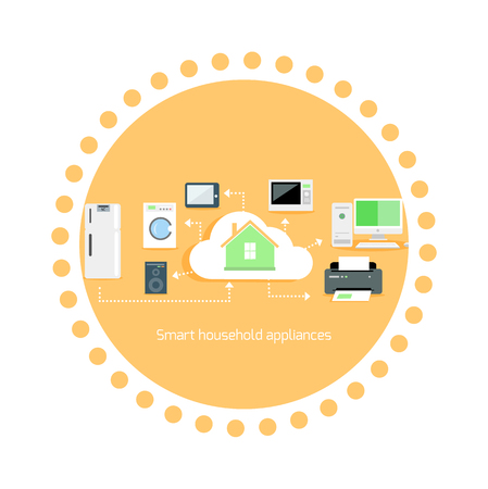 home equipment: Smart household appliances icon flat design. Home equipment technology, automation printer and music, microwave and washing machine, computer device illustration Illustration