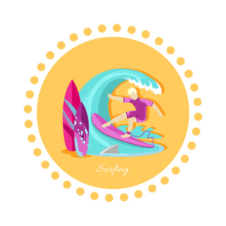 ocean wave: Surfing sport icon flat design. Water summer sea recreation, surfer and surfboard, vacation and leisure, ocean wave, holiday and extreme, outdoor activity tourism illustration