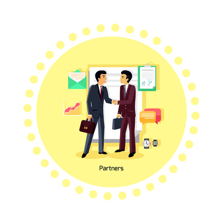 business deal: Partners people icon flat design. Partnership business, man and teamwork, cooperation contract, deal and handshake, professional corporate, communication and coworking illustration Illustration