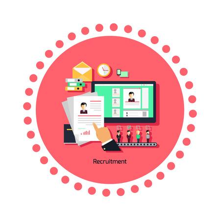 employee development: Recruitment concept icon flat design. Job and career, human employee, resource and management work, employment and development, professional illustration Illustration