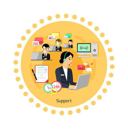 コンセプト アイコン フラット デザインをサポートします。ビジネス通信、インター ネット サービス、コンピューターおよび携帯電話管理、連絡先
