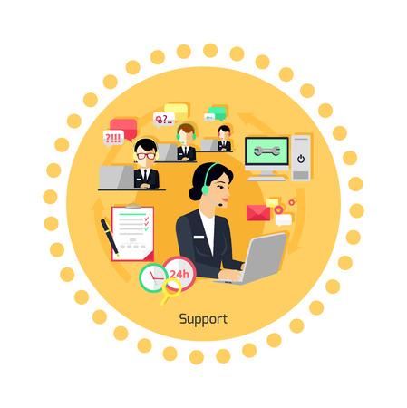 지원 개념 아이콘 플랫 디자인. 비즈니스 커뮤니케이션, 인터넷 서비스, 컴퓨터 및 전화 채팅 관리, 연락처 및 연결, 전문가의 도움과 피드백. 벡터 일
