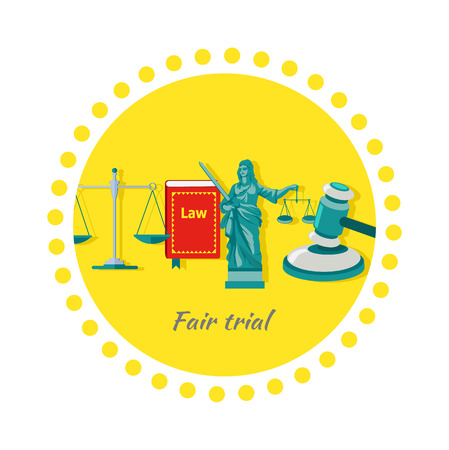 trial balance: Fair trial concept icon flat design. Law and scale, justice and court, balance legal, measurement equilibrium, freedom protection, equal and libra, decision acquittal, judicial litigation illustration Illustration