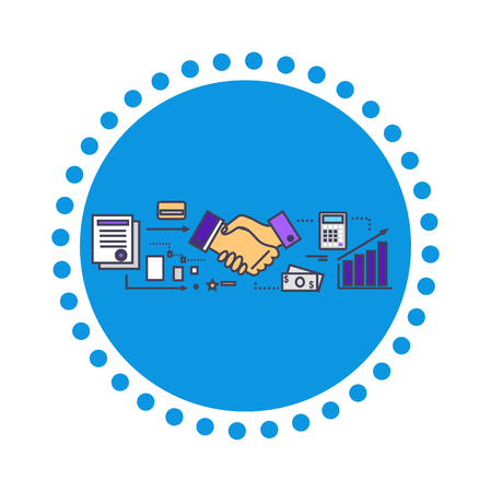 business development: Business partners icon flat design. Partnership and teamwork, contract and deal, handshake and collaboration, professional corporate, startup and growth illustration