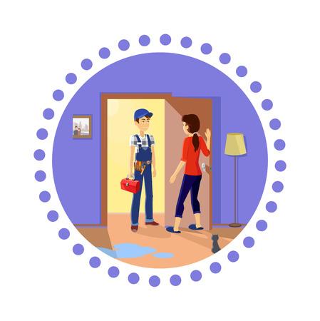 fontanero: Fontanero en el trabajo. Ama de casa se reúne reparador maestro. Uniforme de servicio, profesional ocupación, el trabajo mecánico de reparación, técnico de fijación, herramientas y trabajador, caja de herramientas y personal de mantenimiento, fontanero o técnico