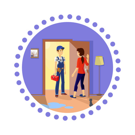 professional occupation: Plumber at work. Housewife meets master repairman. Service uniform, occupation professional, repair mechanic work, technician fixing, tool and workman, toolbox and handyman, plumber or serviceman